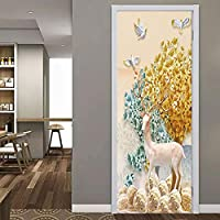 3Dドアステッカーポスター壁飾り孔雀猫動物写真子供部屋幼稚園寝室ホテル装飾ドア壁ステッカー-2-77X200Cm