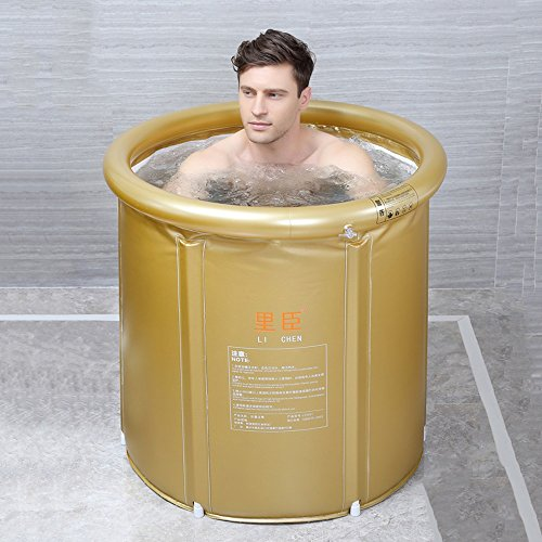 Adult Folding Bathtub Thick Plastic Bath Tub Inflatable Simple Bath Tub Home SPA Bathtub (Color : Gold, Size : M)