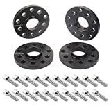 APL 4pcs 15mm 5x112 5x100 Black Hubcentric Wheel Spacers with 20pc Silver Lug Bolts (Ball Radius Seat) for Audi TT A3 A4 A6 A8 S4 S6 S8 Volkswagen Jetta Golf GTI R32 Corrado Beetle EOS CC Passat