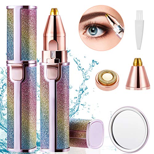 LEWONO Eyebrow Trimmer for Women Electric Hair Remover 2 in 1 Rechargeable Trimming Epilator Kit Lady Razor Tool Painless Flawless Groomer for Eyebrow Lips Facial Hair with LED Light, Brush & Mirror