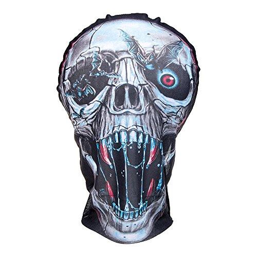 Blue Banana Masque Intégral Halloween en Tissu Effet Réaliste - Crâne Futuriste (Multicolore)