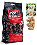 LogsOnline Weber Barbeque Charcoal Briquettes Bag + 50 LogLites Firelighters Bundle - BBQ Starter Kit for Outdoor Cooking