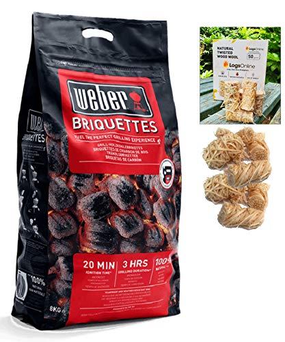 LogsOnline Weber Barbeque Charcoal Briquettes Bag + 50 LogLites Firelighters Bundle - BBQ Starter Kit for Outdoor Cooking