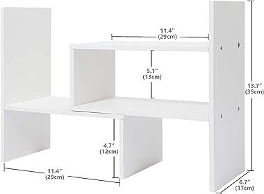 Widousy Desktop Organizer Office Storage Adjustable Display Bookshelf Double Shelf Desk Supplies for Office Kitchen Multipurp