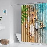 Duschvorhang mit Strand-Thema, 182,9 x 182,9 cm, Seestern & Muscheln, Duschvorhang-Set, niedliche Duschvorhänge, waschbar, wasserdicht, Badezimmer-Dekoration, Haken enthalten