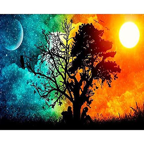 Xpboao Pintar por números - Paisaje día y Noche árbol Pareja. - para Adultos niños artesanía - para Regalos de decoración de la Pared del hogar - 40x50 - Sin Marco