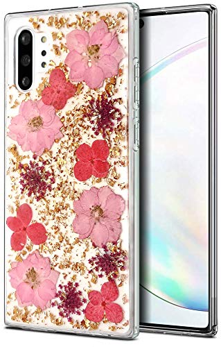 Aokebr Real Flowers Case for Samsung Galaxy Note 10 + Plus Pressed Dry Petals Glitter Bling Glitter Sparkle Thin TPU Soft Clear Flexible Rubber for Girl Women Note10+ Note10Plus (Pink)