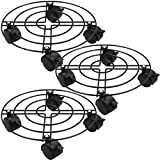 Moutik Round Plant Caddy Metal:Plant Stand with Lockable on Roller Patio Flower PotS Rack Plant Holder (10' x3, Black)