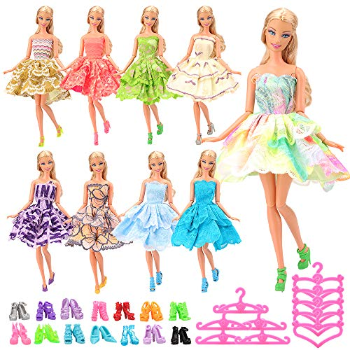 Mylass 10PCS Fashion Mini Dresses + 10 Shoes + 10 Hanger for 11.5 inch Doll Clothes - Handmade Short Party Dress Costume