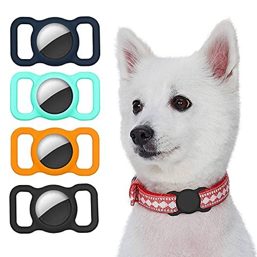 Kiewhay Caso Compatible con Apple AirTag Funda, [4 Piezas] Silicona Carcasa para Localizador Antipérdida, Soporte de Seguimiento GPS para Collar de Mascotas/Perro/Gato y Bolsas de Niños/Ancianos -B