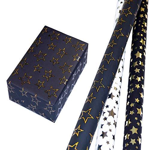 Geschenkpapier Weihnachten Set 3 Rollen (75 x 150 cm), schwarzes und weißes Sterne-Design auf Metallic-Papier, Sternen-Kontur-Design mit Glitter gold auf schwarzem Fond. Für Weihnachten, Geburtstag.