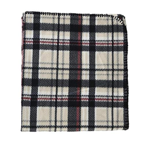 Cannon Throws Fleece Blanket, Plaid, 50-inches by 60-inches (Neutral...