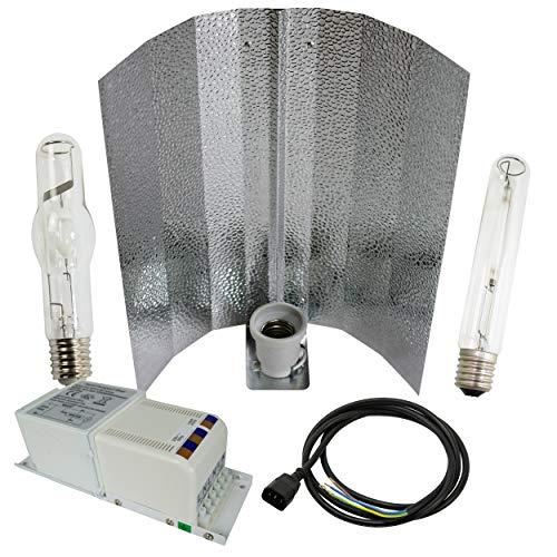 Cultivalley 400W Grow-Set, Profi Pflanzenbeleuchtung, Bausatz mit NDL Natriumhochdruck-Leuchtmittel HPS für die Blüte & Halogen-Metalldampflampe MH Wuchslicht, Pflanzenlicht