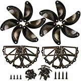 Lot de 24 Boutons de Tiroir Metal Coquille Rétro + Cadre Étiquette Vintage Poignées Boutons de Meuble + 48 Vis pour Placards...