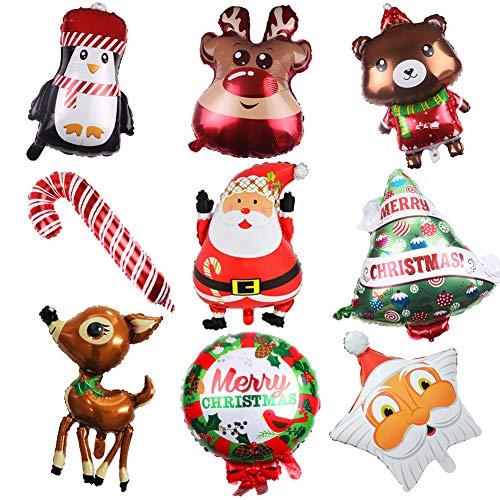 SUNSK globos de navidad Globo de papel de aluminio Muñeco de nieve árbol de Navidad Papá Noel globos suministros de decoración de fiesta de año nuevo de Navidad 9 Piezas