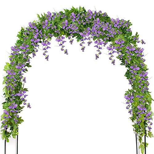 Mavee 4 Pcs 7.2 Feet Artificial Flower Vine Silk Wisteria Garland Hanging Rattan with Ivy Leaf for Wedding Home Decor (Lavender)