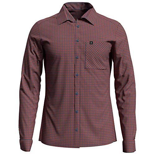 Odlo Herren Nikko Langarm-Hemd, Mandarin red - China Blue - Check, L