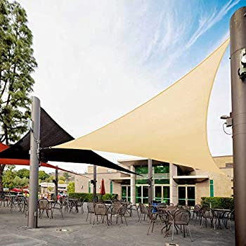Royal Shade 12  x 12  x 17  Beige Right Triangle Sun Shade Sail Canopy Awning Outdoor Patio Fabric Shelter Cloth Screen Awning - 95% UV Protection 200GSM,5 Years Warranty We Make Custom Size