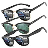 Perfectmiaoxuan Pack de 3 Gafas de Sol Hombre Mujer Polarizadas CAT 3 CE UV400 Gafas retro clásicas Conducción Correr Ciclismo Pesca Golf Verano Turismo Gafas de sol (3 pack(black/Dark green/black))