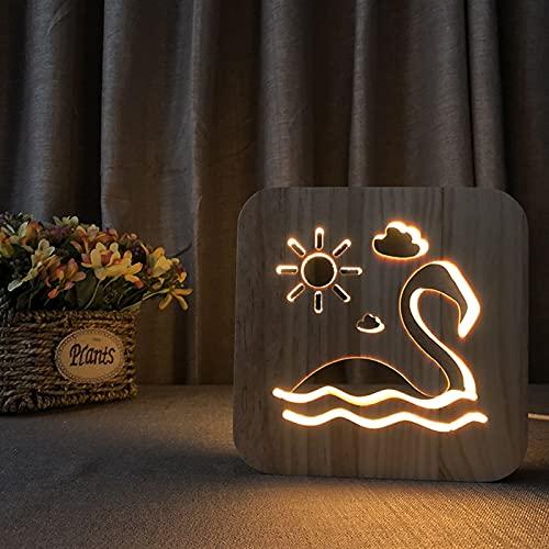 Patrón De Cisne De Madera Luz De Noche USB Recargable Madera Tallada Luz Blanca Cálida Lámpara De Escritorio Lámpara De Cabecera Lámparas De Guardería Decoración Del Hogar Regalos De Amor Para Parejas