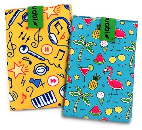 Bolsa portabocadillos Reutilizable. 2X Envoltorio Bocadillo, Sandwich, Almuerzo, merienda Infantil y Adultos. Ecológico y sin BPA (Flamenco y Musica)