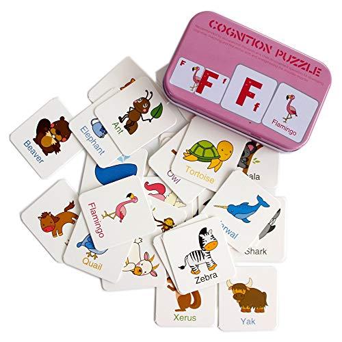 Gobus 56pcs flash card cognizione puzzle carte storia parole forma abbinamento puzzle educazione precoce carta apprendimento giocattoli in una scatola (lettere cognizione)