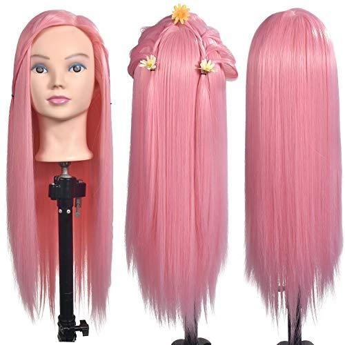 ErSiMan – Tête de mannequin femme de cosmétologie, 26 % cheveux humains de 66 cm pour coiffure, avec pince de fixation (rose)