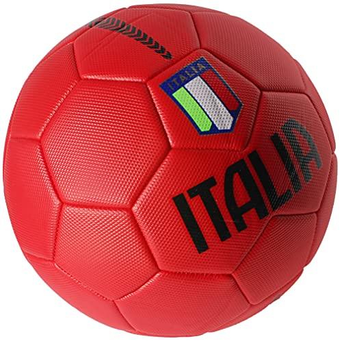Pallone da Calcio Italia con Stemma della Federazione Italiana Giuoco Calcio - Taglia 5 – Idea Regalo (Rosso)