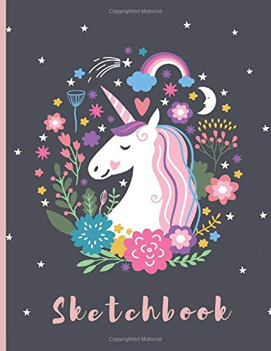 "Sketchbook: A Cute Unicorn Kawaii Large Sketchbook/Notebook:108+ Pages of 8.5""x11"" With Blank Paper for Girls To Drawing, Doodling, Journal ,Sketching ... Sketchbook for Kids ( Blank Unlined Edition))"