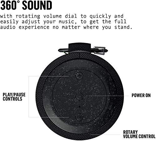 House of Marley EM-JA016-SB - Altavoz Bluetooth Deportivo (Impermeable, 12h de batería, IP67, flotable, con Gancho de mosquetón, Carga rápida, Sonido de 360 Grados, aux), Color Negro