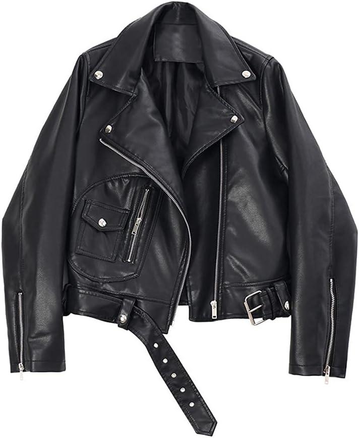 HLMSKD Loose Fit Zipper Split Pu Leather Short Jacket Lapel Long Sleeve Women Coat Fashion Tide Spring (Color : Black, Size : XL Code)