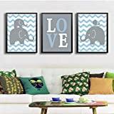 Elefantes dulces Decoración de vivero familiar Amor Pinturas de lienzo de dibujos animados Imágenes de arte nórdico de pared Cartel e impresión para decoración de habitación de niños 50 * 70 cm