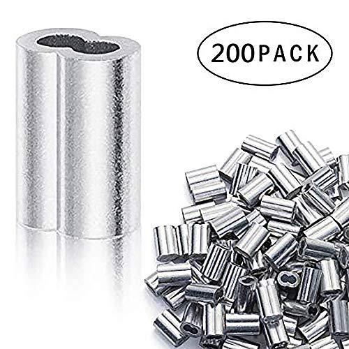 TONGXU 200PCS Manguito de Bucle de Aluminio para Cable Clips