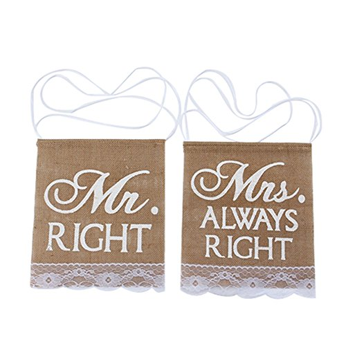 DWR Chair Sign Bunting, Mr Right & Mrs Always Right Pattern Rustic Banner Wedding Party Decoration