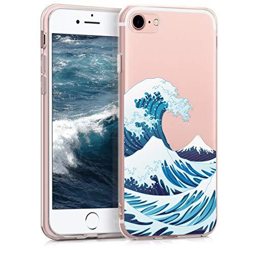 kwmobile Cover Compatibile con Apple iPhone 7/8 / SE (2020) - Custodia in Silicone TPU - Backcover Protettiva Cellulare New Japanese Wave Blu/Bianco/Trasparente