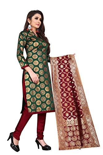 satyam weaves women's ethnic wear brocade rapier cotton silk green dress material.