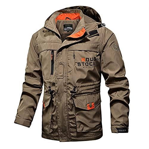 Hombres chaqueta táctica otoño transpirable estilo militar abrigo hombre múltiples bolsillos con capucha con capucha cortavientos impermeable chaqueta de bombardero ( Color : MGC04Khaki , Size : XL )
