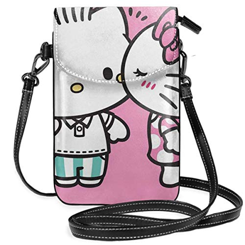 Borse a tracolla da donna - Portafoglio piccolo per cellulare Hello Kitty da coppia con fessure per carte di credito