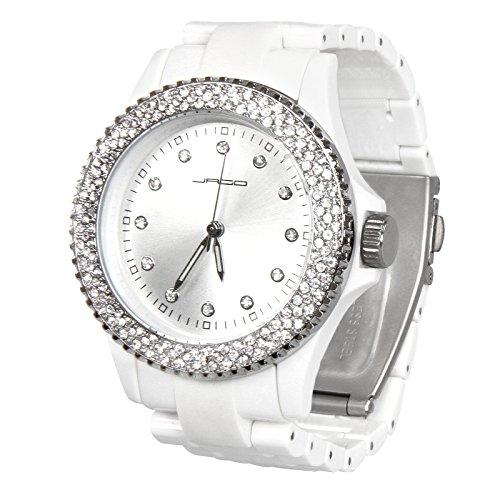 Damen Armbanduhr Mit Strass Besetzte - Farbe: Schwarz oder Weiss, L/B/H: 12,5/4,5/0,8 cm Analog Quarz Damenuhr mit Kunststoffarmband - Zifferblat Uhr, Frauenuhr, Strassuhr, Damenmode