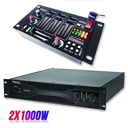 amplificador de 2000W paquete PA SA2000 + Mezclador de 4 canales 7 entradas