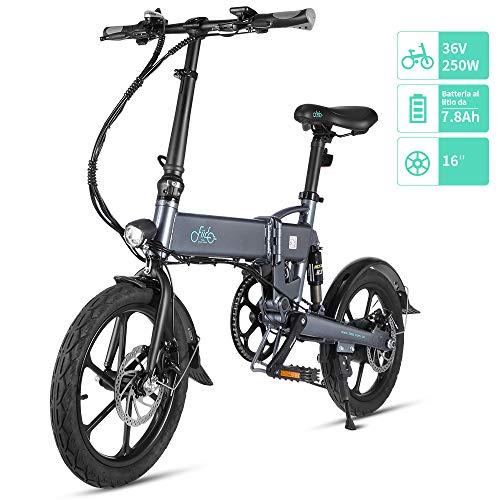 FIIDO D2 Ebike, Bicicletta elettrica Pieghevole con Luce Anteriore a LED per Adulti, Bicicletta elettrica Pieghevole con Ruote da Bici da 250 W 7.8Ah (Grigio, 7.8Ah / D2S)