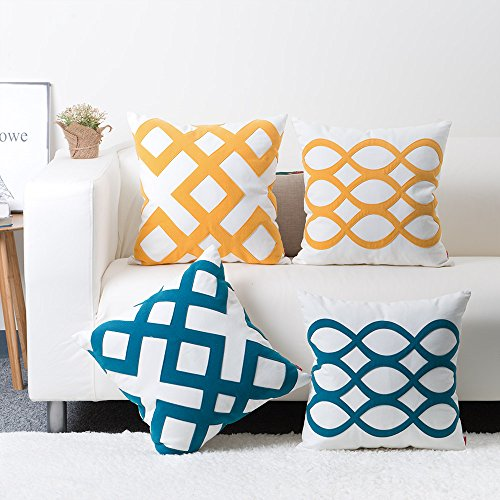 baibu Cotton Decor Cushion Cover Applique Geometric Throw Pillow Case...