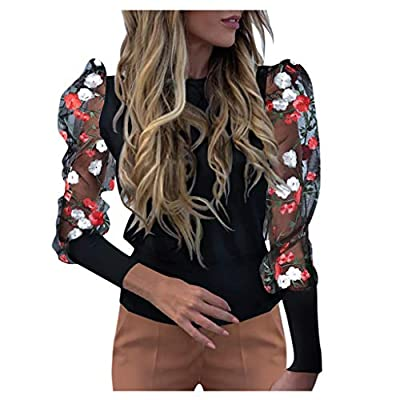 NewKelly I Dot Lantern Perspective Mesh Top Women Sleeve Fashion O-Neck Loose Sleeve Casual All Collar Black by Newkly