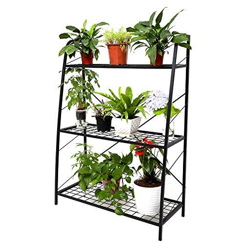 C-Hopetree 3-stöckiger Hoch Pflanzenständer aus Metall, Indoor Outdoor Mehrpflanzenregal