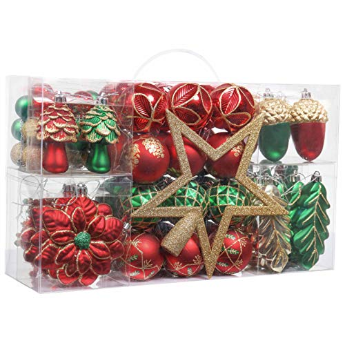 Valery Madelyn 100ct Traditional Christmas Ball Ornaments Green Red Gold with Tree Topper, Shatterproof Christmas Tree Ornaments Assorted Bulk, Themed with Tree Skirt (Not Included)