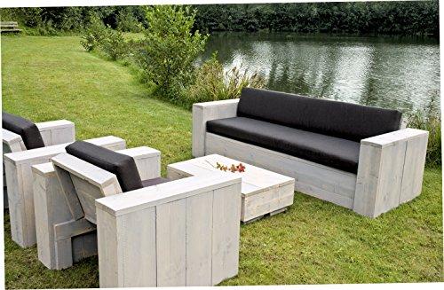 Bauholz Möbel Gartenmöbel Garnitur Lounge Set 1x Tisch 2x Stuhl/Sessel 1x Bank - rostfarbene Patina