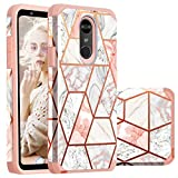 LG Stylo 4 Case,LG Stylus 4 case,Casewind LG Stylo 4 Plus Case Marble 2 in 1 Slim Hard PC Soft Silicone Hybrid Protective Shockproof Anti Scratch Bumper Phone Case for LG Stylo 4/LG Q Stylus,Rose Gold