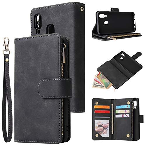 Dmtrab Phone Case for Para Samsung Galaxy A40 con cremallera Caja de la billetera, congelado retro multifuncional, funda de cuero con gancha horizontal con ranura para tarjeta y soporte y marco de fot