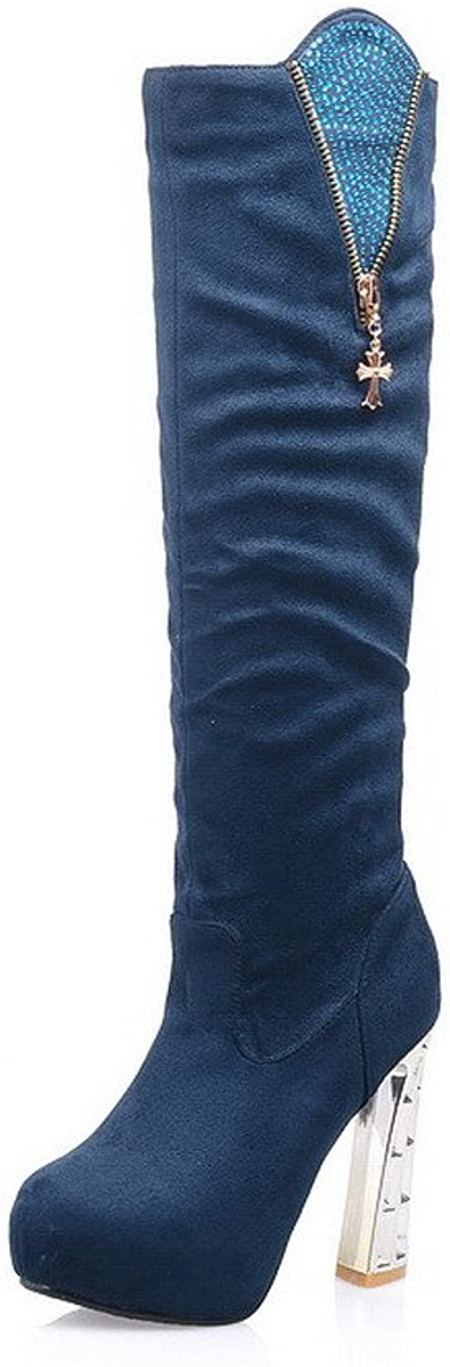 AllhqFashion Women's Solid Imitated Suede High-Heels Pull-on Round Closed Toe Boots