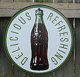 Cartel de lata con botella de Coca-Cola redonda de los años 60 retro vintage